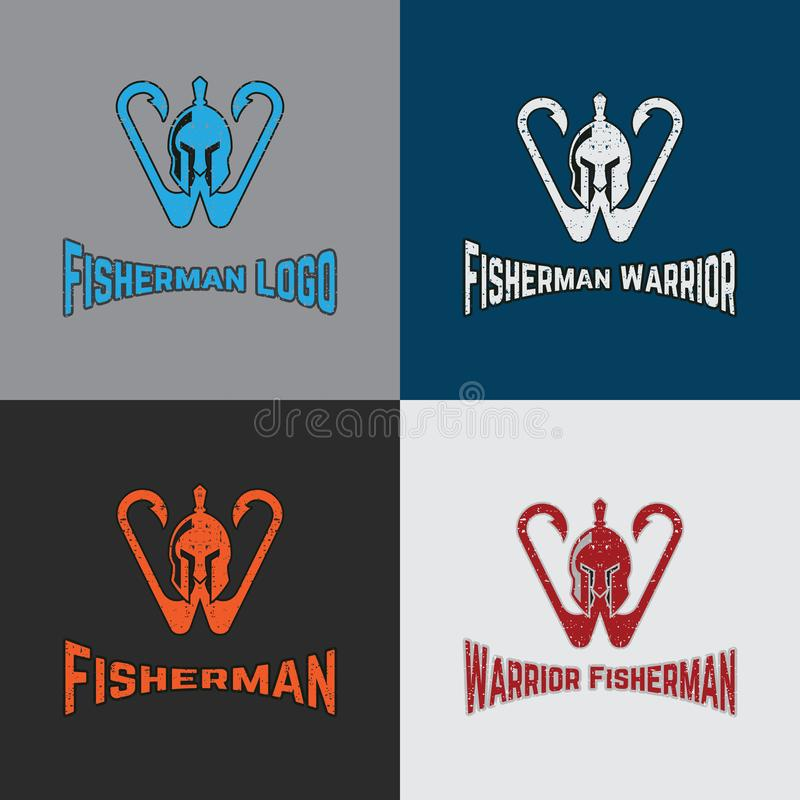 Πρότυπο λογότυπων ψαράδων πολεμιστών με τον πολεμιστή και το γάντζο απεικόνιση αποθεμάτων