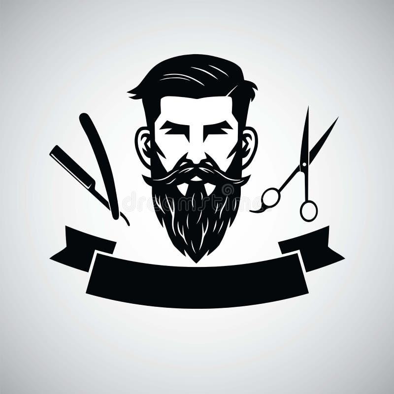Πρότυπο λογότυπων Barbershop με το κεφάλι και το ψαλίδι Hipster επίσης corel σύρετε το διάνυσμα απεικόνισης διανυσματική απεικόνιση