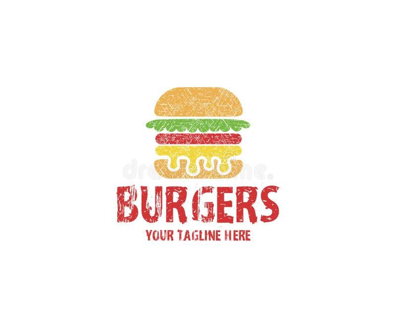 Πρότυπο λογότυπων Burgers Διανυσματικό σχέδιο χάμπουργκερ απεικόνιση αποθεμάτων