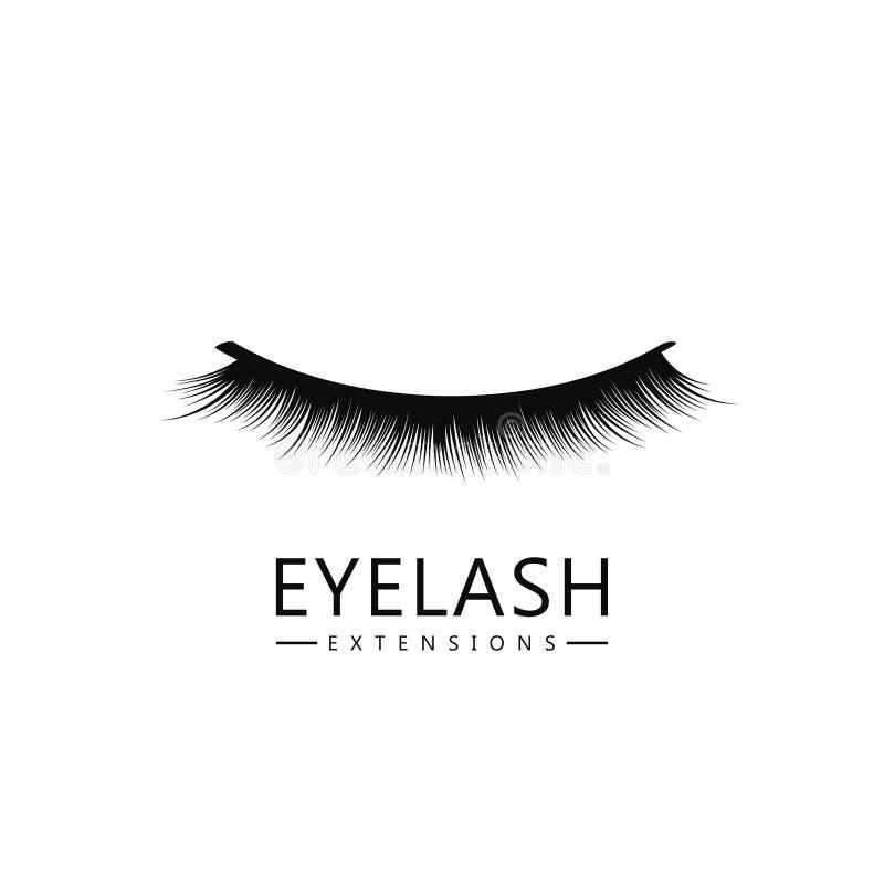 Πρότυπο λογότυπων Eyelash Έννοια επέκτασης Eyelash Πολύβλαστα μαύρα μαστίγια στο άσπρο υπόβαθρο για το makeup και την καλλυντική  ελεύθερη απεικόνιση δικαιώματος