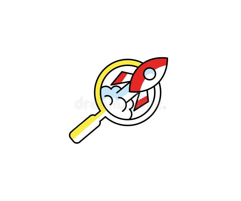 Πρότυπο λογότυπων Magnifier και πυραύλων Διανυσματικό σχέδιο αναζήτησης ξεκινήματος απεικόνιση αποθεμάτων