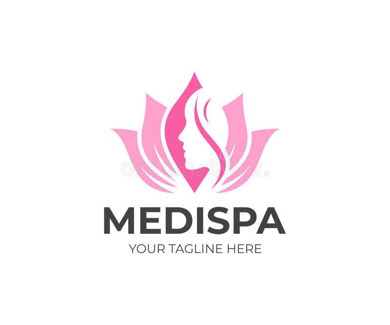 Πρότυπο λογότυπων Medical spa σαλονιών Διανυσματικό σχέδιο προσοχής ομορφιάς διανυσματική απεικόνιση