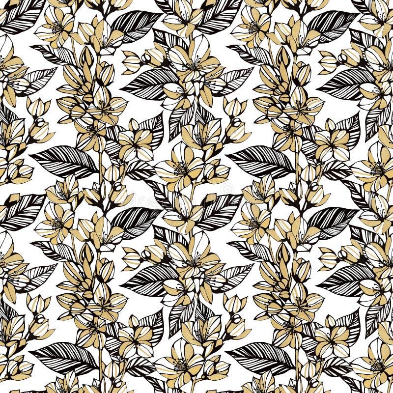 πρότυπο λουλουδιών άνευ ραφής Χρυσά λουλούδια της Jasmine σε ένα άσπρο υπόβαθρο Σχέδιο μολυβιών χεριών Σχέδιο για τα κλωστοϋφαντο απεικόνιση αποθεμάτων