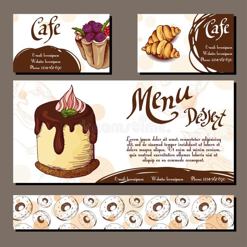 Πρότυπο με συρμένο το χέρι αρτοποιείο σκίτσων Κάρτες επιδορπίων με το γλυκό αρτοποιείο διανυσματική απεικόνιση
