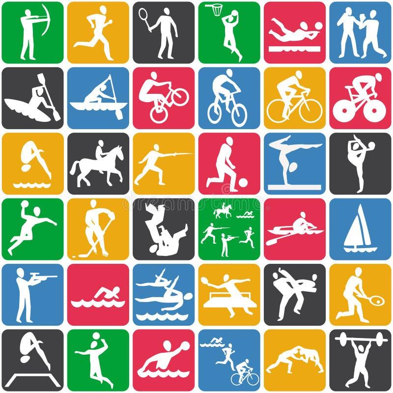 Πρότυπο με τα αθλητικά εικονίδια ελεύθερη απεικόνιση δικαιώματος