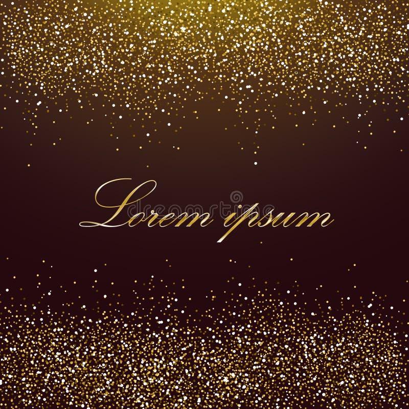 Πρότυπο με τα χρυσά σπινθηρίσματα σε ένα υπόβαθρο σοκολάτας διανυσματική απεικόνιση