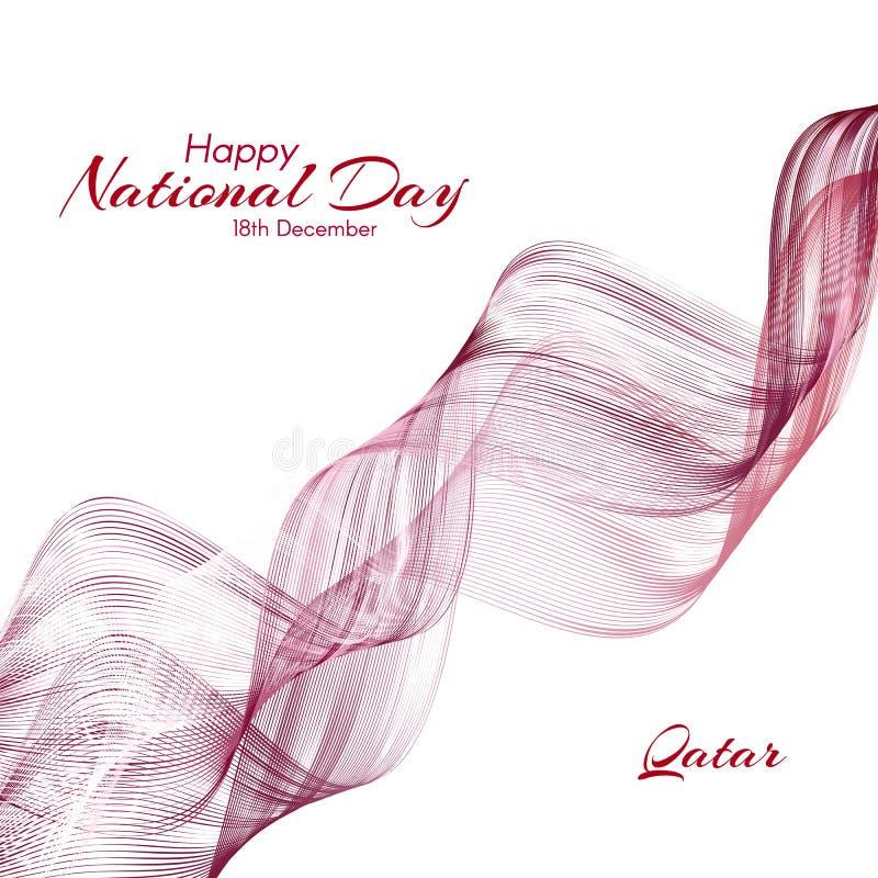 Πρότυπο με τα χρώματα της εθνικής σημαίας του Κατάρ με το κείμενο της ευτυχούς εθνικής μέρας διανυσματική απεικόνιση
