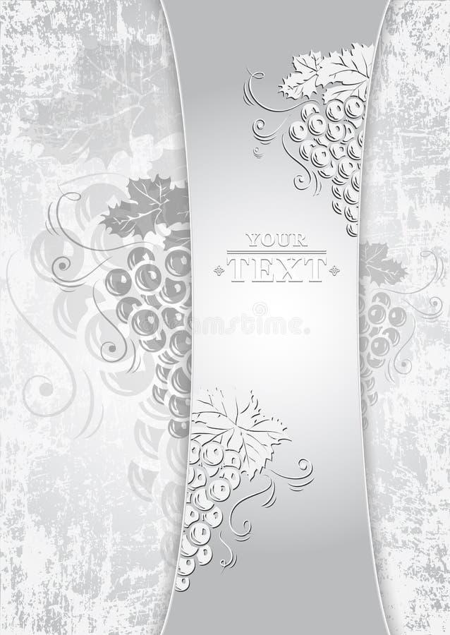 Πρότυπο με τις δέσμες των σταφυλιών για το σχέδιο κρασιού Πρότυπο σχεδίου κρασιού διανυσματική απεικόνιση