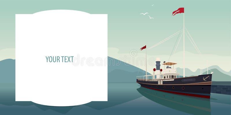 Πρότυπο με τον τομέα κειμένων και το σκάφος αναψυχής διανυσματική απεικόνιση