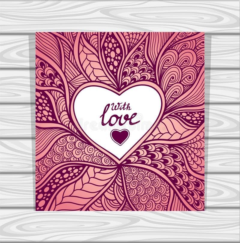 Πρότυπο με το σχέδιο ύφους Zen -Zen-doodle και τη ρόδινη πασχαλιά πλαισίων καρδιών απεικόνιση αποθεμάτων