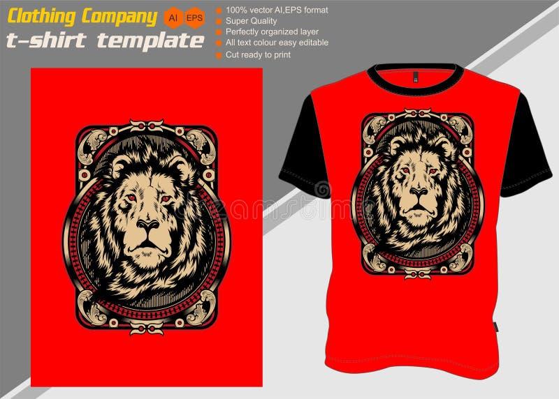 Πρότυπο μπλουζών με το λιοντάρι, διάνυσμα σχεδίων χεριών ελεύθερη απεικόνιση δικαιώματος