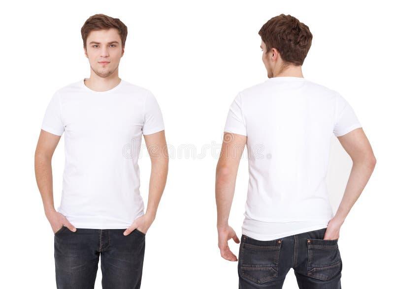 Πρότυπο μπλουζών Μπροστινή και πίσω άποψη Χλεύη που απομονώνεται επάνω στο λευκό στοκ εικόνα με δικαίωμα ελεύθερης χρήσης