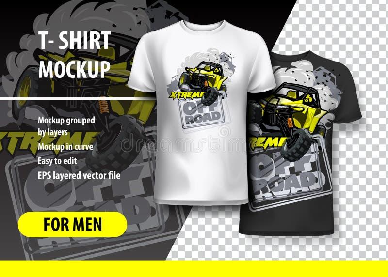 Πρότυπο μπλουζών, πλήρως editable με το κίτρινο ακραίο λογότυπο ATV ελεύθερη απεικόνιση δικαιώματος