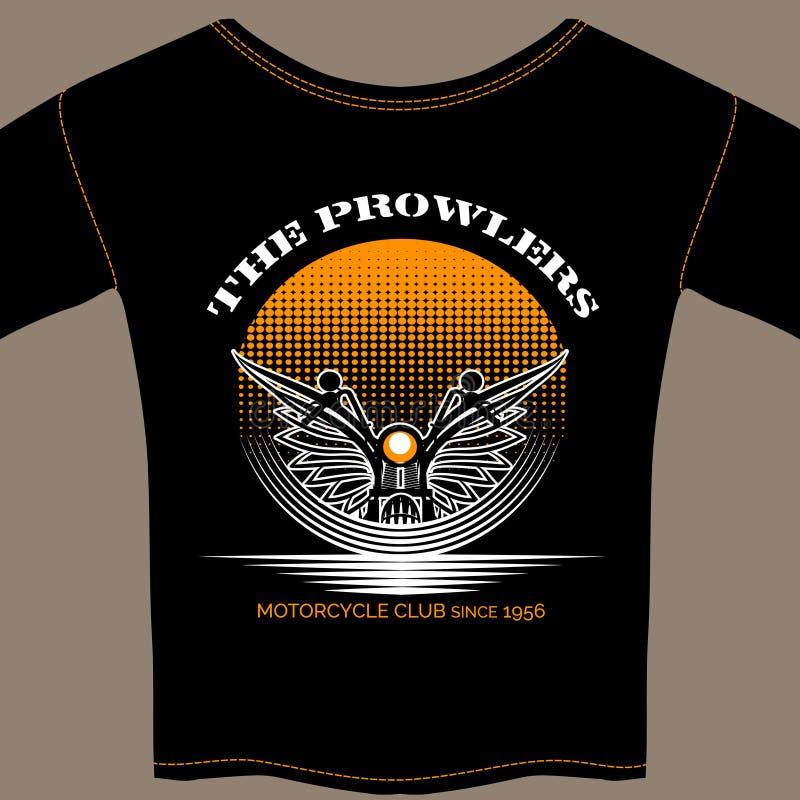 Πρότυπο μπλουζών για το μέλος λεσχών μοτοσικλετών διανυσματική απεικόνιση