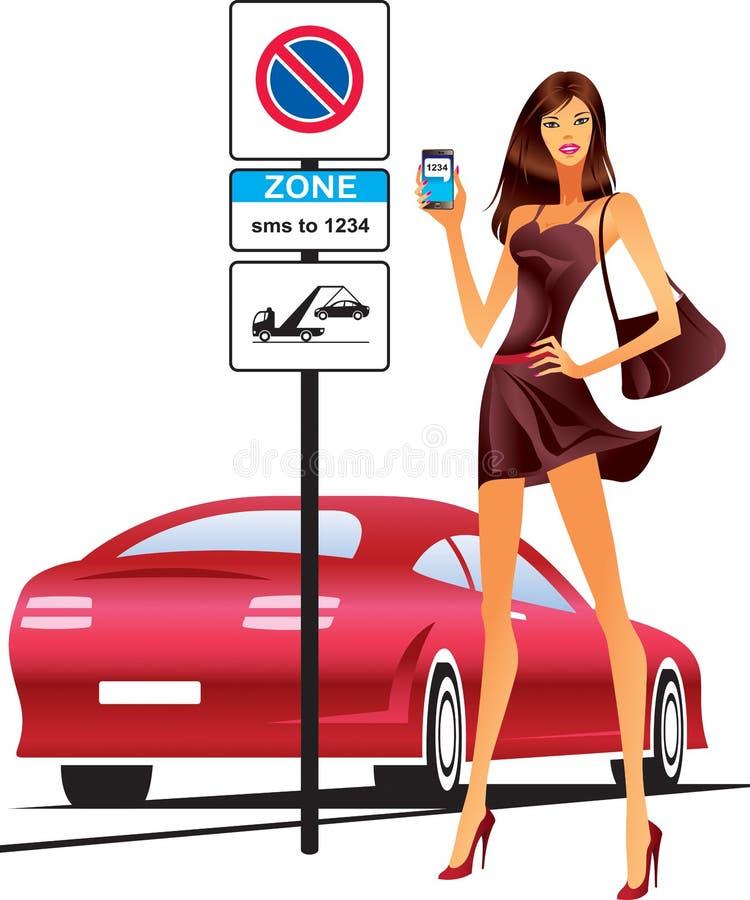Πρότυπο μόδας που στέλνει sms για το χώρο στάθμευσης του αυτοκινήτου διανυσματική απεικόνιση