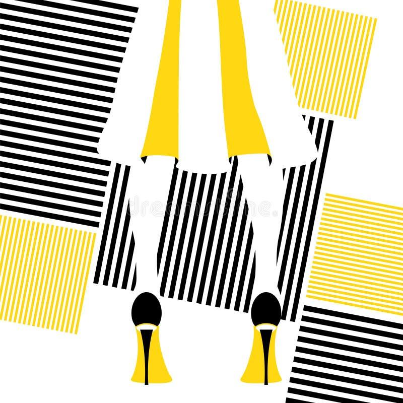 Πρότυπο μόδας στη γδυμένη φούστα διανυσματική απεικόνιση