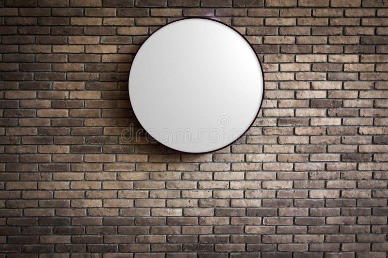 Πρότυπο - λογότυπο Lightbox κύκλων στο σκούρο κόκκινο τουβλότοιχο στοκ φωτογραφία με δικαίωμα ελεύθερης χρήσης
