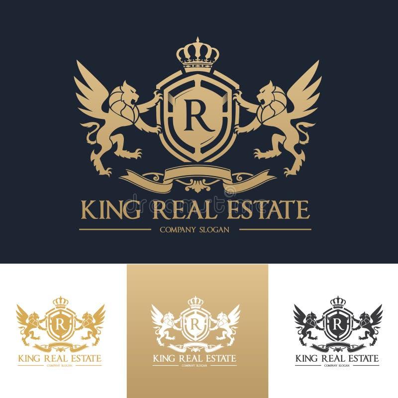 Πρότυπο λογότυπων ακίνητων περιουσιών βασιλιάδων στοκ εικόνες