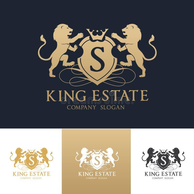 Πρότυπο λογότυπων ακίνητων περιουσιών λιονταριών βασιλιάδων στοκ φωτογραφία