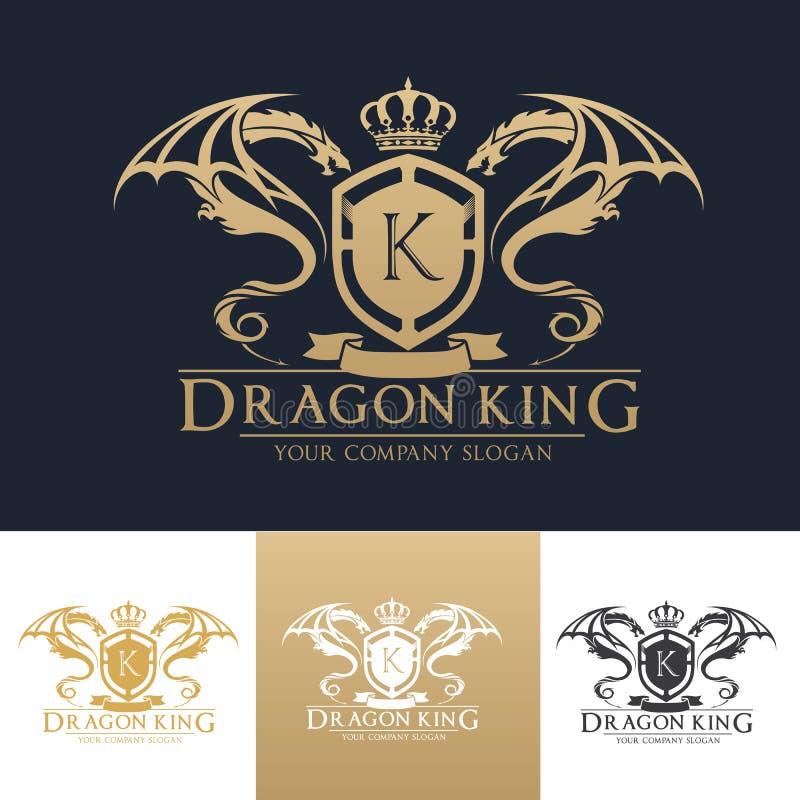 Πρότυπο λογότυπων βασιλιάδων δράκων διανυσματική απεικόνιση