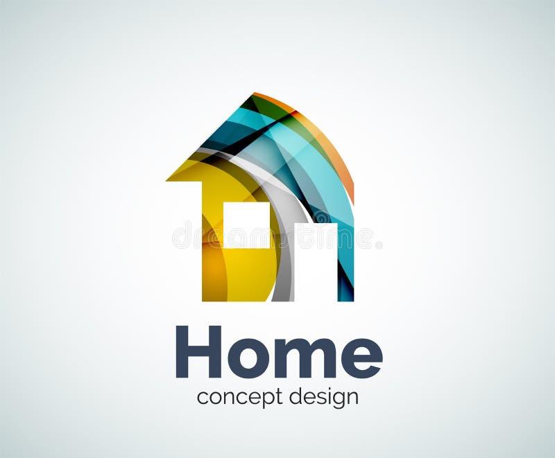 Πρότυπο λογότυπων εγχώριων ακίνητων περιουσιών διανυσματική απεικόνιση