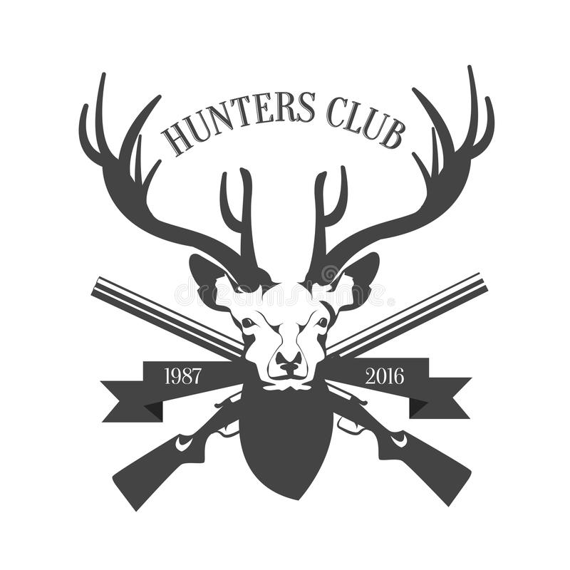 Πρότυπο λογότυπων λεσχών κυνηγιού Κεφάλι ελαφιών και σκιαγραφία κέρατων που απομονώνονται στο άσπρο υπόβαθρο επίσης corel σύρετε  απεικόνιση αποθεμάτων