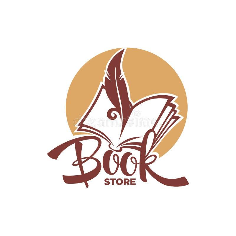 Πρότυπο λογότυπων καταστημάτων βιβλίων διανυσματική απεικόνιση