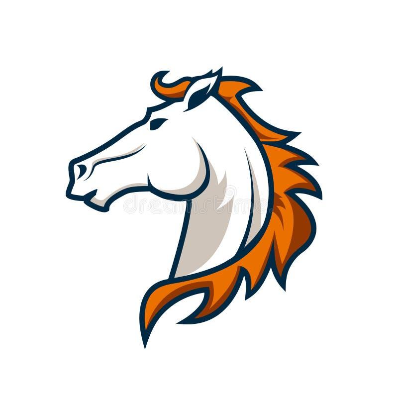 Πρότυπο λογότυπων με το κεφάλι αλόγων Λογότυπο αθλητικών ομάδων ελεύθερη απεικόνιση δικαιώματος