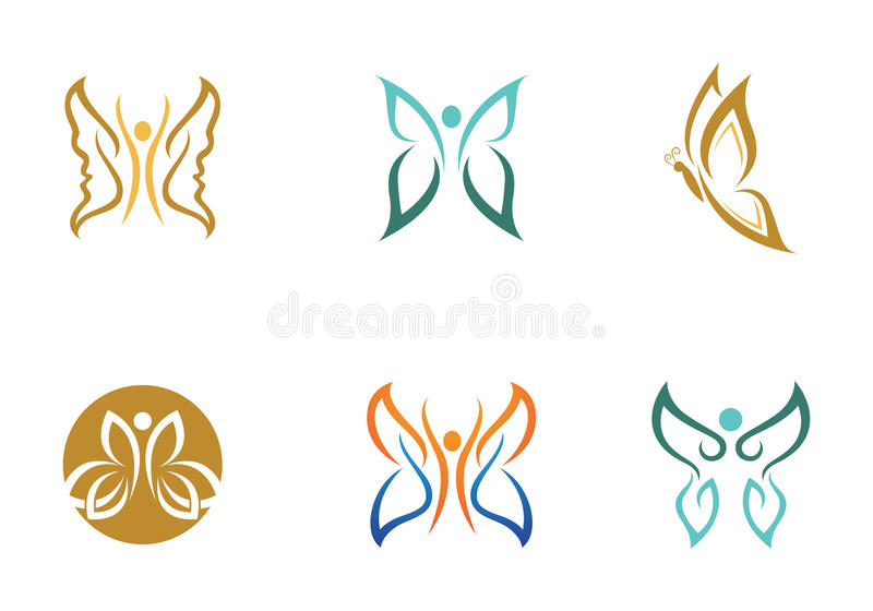 Πρότυπο λογότυπων πεταλούδων ελεύθερη απεικόνιση δικαιώματος
