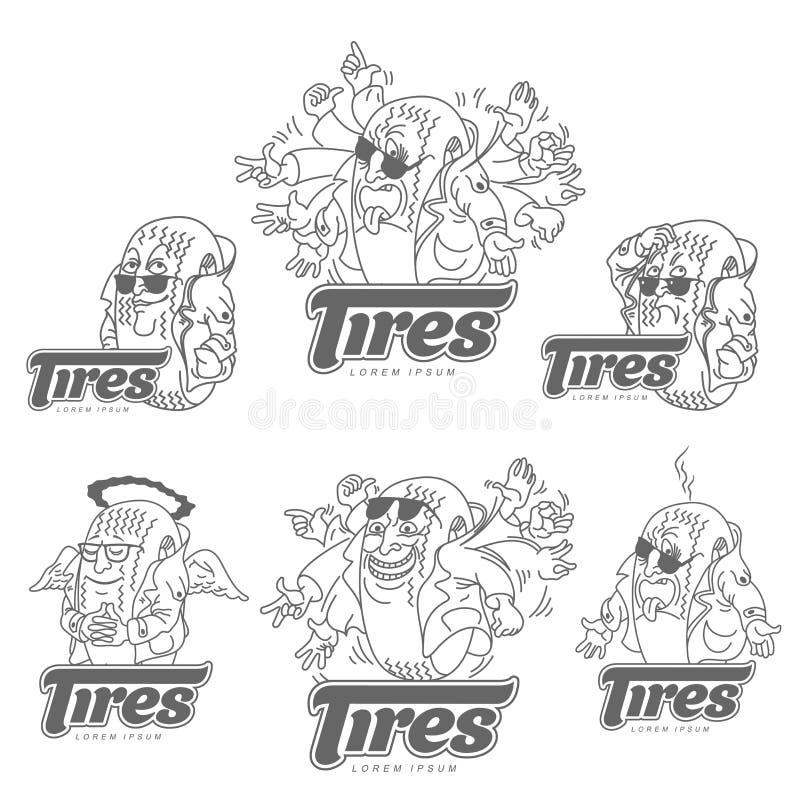 Πρότυπο λογότυπων ροδών κινούμενων σχεδίων απεικόνιση αποθεμάτων