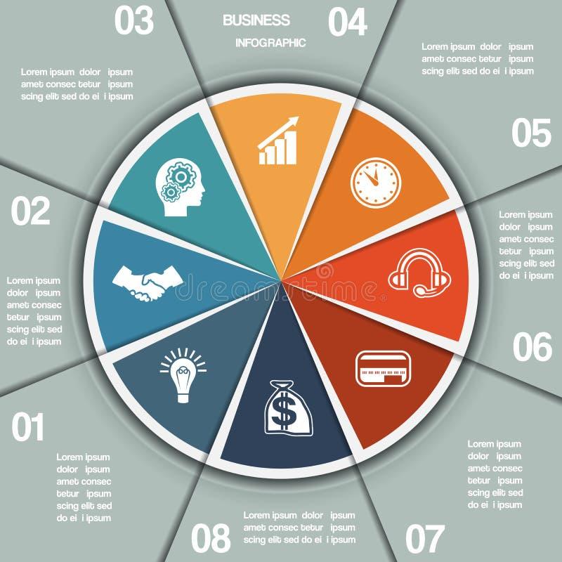 Πρότυπο οκτώ διαγραμμάτων πιτών Infographic θέσεις απεικόνιση αποθεμάτων