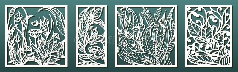Πρότυπο πίνακα με αποκοπή λέιζερ, πρότυπη μορφή άνθους Στάμπο για κοπή ξύλου ή μετάλλων, λάξευση, χάρτινες τέχνες, fretwork διανυσματική απεικόνιση