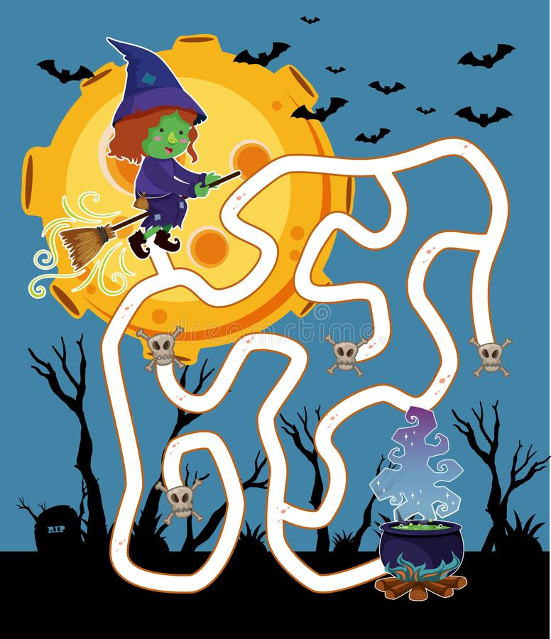 Πρότυπο παιχνιδιών λαβυρίνθου με το πέταγμα μαγισσών τη νύχτα απεικόνιση αποθεμάτων