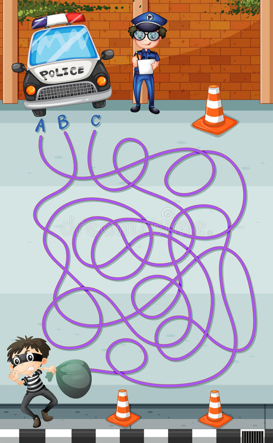 Πρότυπο παιχνιδιών με την αστυνομία και τον εγκληματία ελεύθερη απεικόνιση δικαιώματος