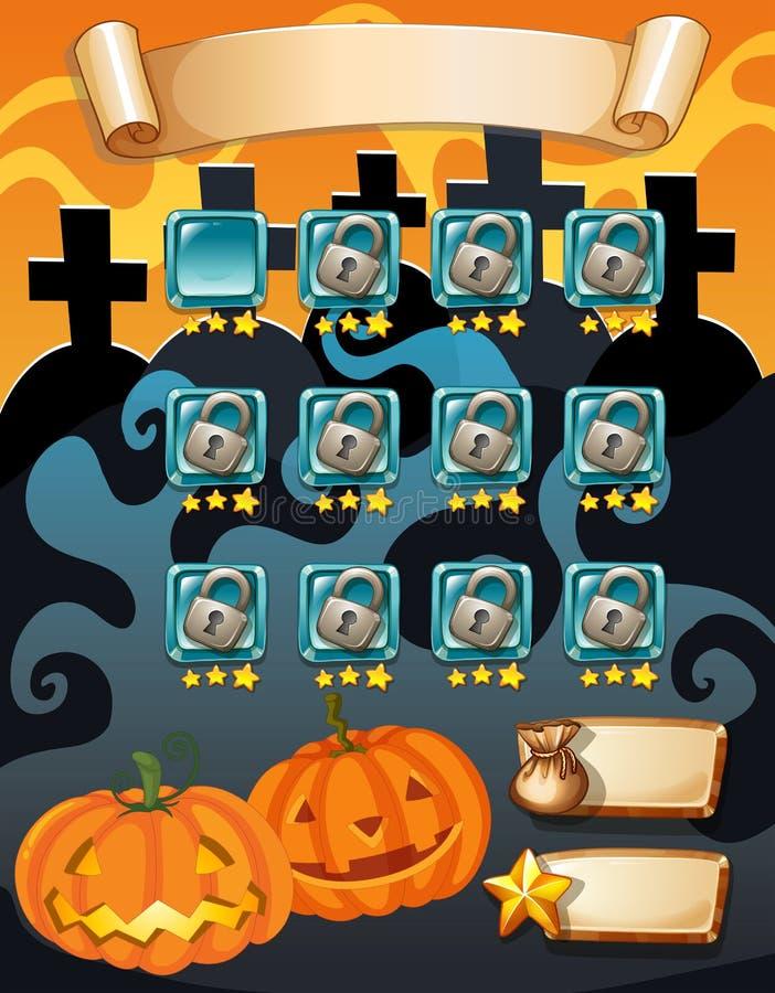 Πρότυπο παιχνιδιών στον υπολογιστή με το θέμα αποκριών απεικόνιση αποθεμάτων