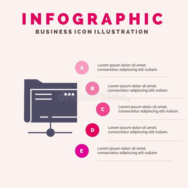 Πρότυπο παρουσίασης Folder, Data, Server, Storage Infographics 5 βήματα παρουσίασης διανυσματική απεικόνιση