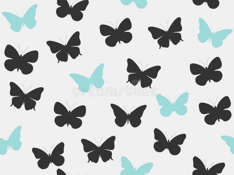 πρότυπο πεταλούδων άνευ ρ& Άνευ ραφής σχέδιο των πεταλούδων Μαύρο και μπλε χρώμα απεικόνιση αποθεμάτων