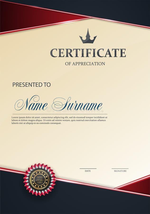 Πρότυπο πιστοποιητικών με το ΚΟΚΚΙΝΟ κομψό σχέδιο πολυτέλειας, βαθμολόγηση σχεδίου διπλωμάτων, βραβείο, επιτυχία επίσης corel σύρ διανυσματική απεικόνιση