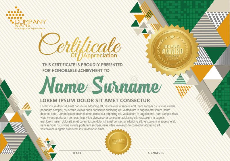Πρότυπο πιστοποιητικών με το polygonal ύφος, το κομψό και σύγχρονο σχέδιο ελεύθερη απεικόνιση δικαιώματος