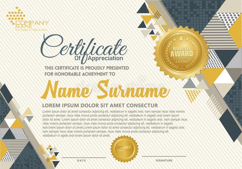 Πρότυπο πιστοποιητικών με το polygonal ύφος, το κομψό και σύγχρονο σχέδιο διανυσματική απεικόνιση