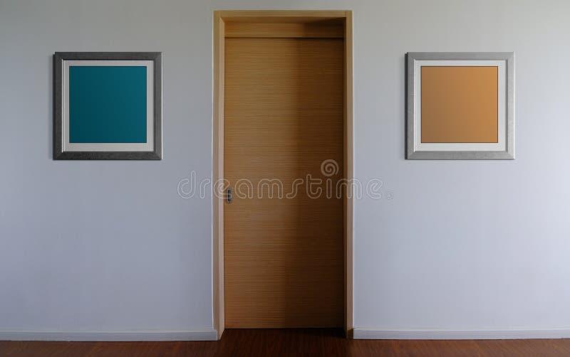 Πρότυπο πλαισίων φωτογραφιών με το ψαλίδισμα της πορείας Το άσπρο δωμάτιο διακόσμησε δύο κενά πλαίσια εικόνων στοκ εικόνες
