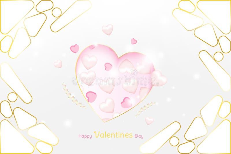 Πρότυπο πολυτέλειας ευχετήριων καρτών ημέρας βαλεντίνων Έννοια εορτασμού με τις ρόδινες καρδιές και τα χρυσά στοιχεία στο υπόβαθρ ελεύθερη απεικόνιση δικαιώματος