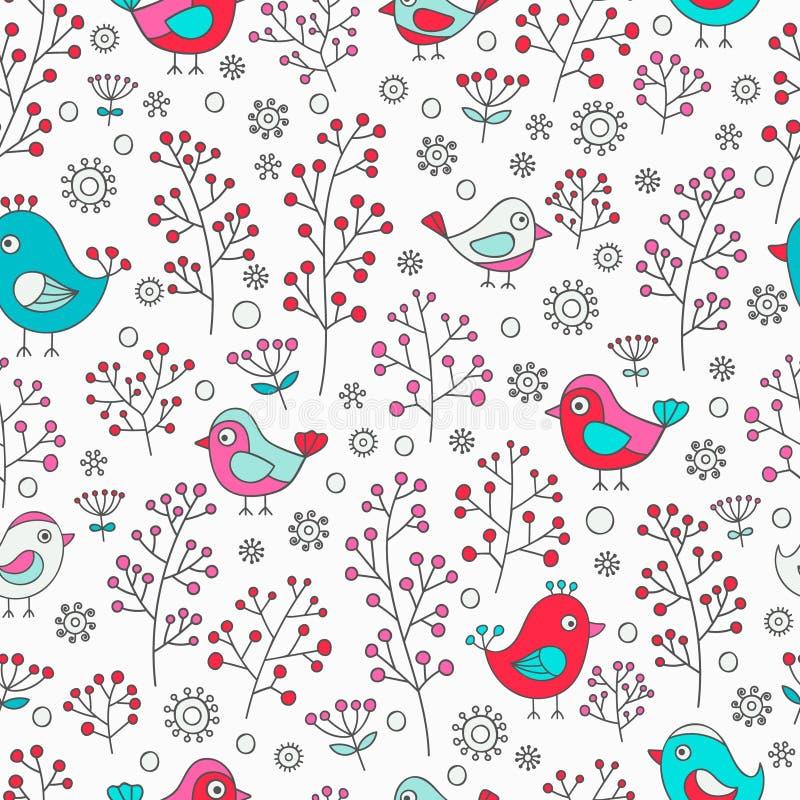 πρότυπο πουλιών άνευ ραφής απεικόνιση αποθεμάτων