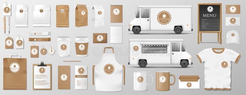 Πρότυπο που τίθεται για τη καφετερία, τον καφέ ή το εστιατόριο Συσκευασία τροφίμων καφέ για το εταιρικό σχέδιο ταυτότητας Ρεαλιστ διανυσματική απεικόνιση