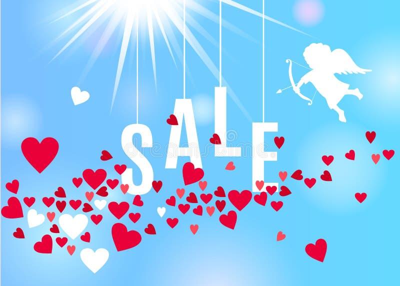 Πρότυπο πώλησης ημέρας βαλεντίνων με το κόκκινο και άσπρο ρεύμα καρδιών που απομονώνεται στο σαφές υπόβαθρο μπλε ουρανού διανυσματική απεικόνιση