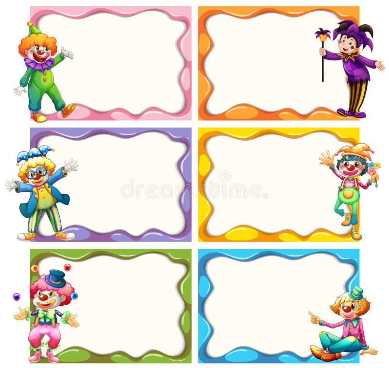 Πρότυπο πλαισίων με jesters διανυσματική απεικόνιση