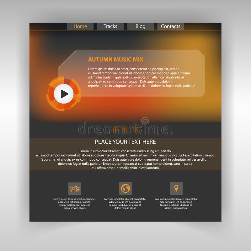 Πρότυπο σελίδων μουσικής ιστοχώρου Σελίδα Διαδικτύου ελεύθερη απεικόνιση δικαιώματος