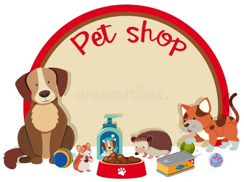 Πρότυπο σημαδιών καταστημάτων της Pet με πολλά κατοικίδια ζώα διανυσματική απεικόνιση