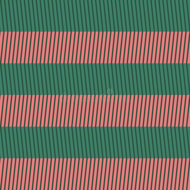 πρότυπο σιριτιών άνευ ραφής Ζωηρόχρωμος χλωμός - ρόδινο και ανοικτό πράσινο τρέκλισμα στο πράσινο υπόβαθρο dar απεικόνιση αποθεμάτων