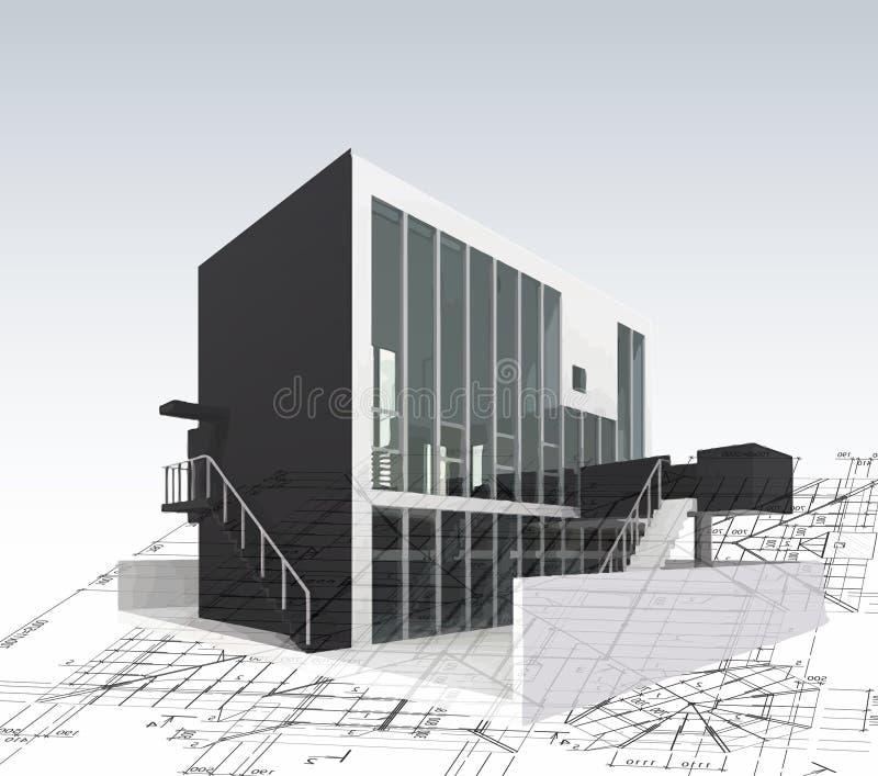 Πρότυπο σπίτι αρχιτεκτονικής με τα σχεδιαγράμματα. Διάνυσμα απεικόνιση αποθεμάτων